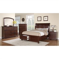 Coaster Hannah 5 Piece Bedroom Set in Brown Cherry