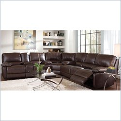 Coaster Geri Six Seat Sectional Sofa in Brown Cognac