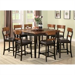 Coaster Franklin 9 Piece Counter Height Dining Set in Brown and Oak