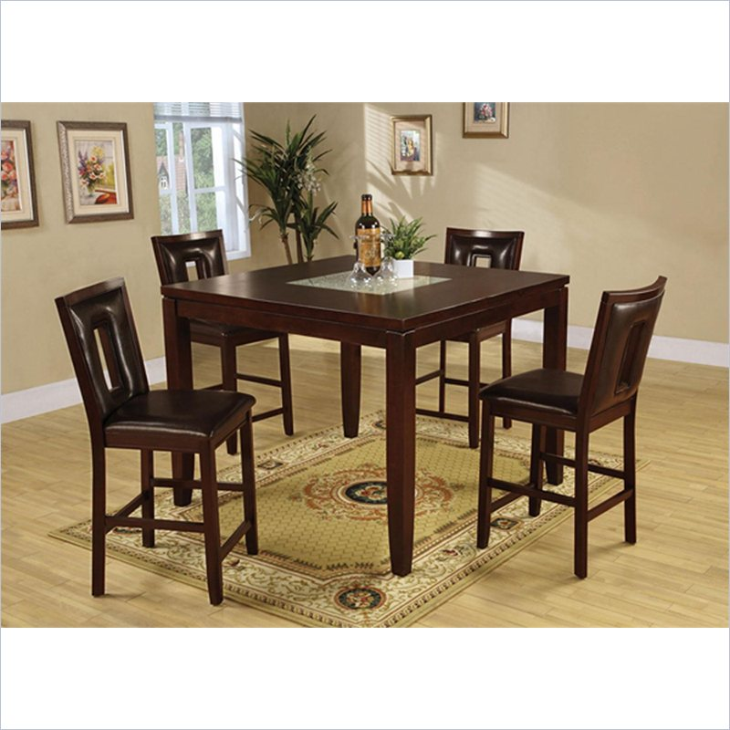 Ervin 5 Piece Square Counter Height Table Setin Espresso