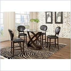 Coaster Daphne 5 Piece Counter Height Table Set in Brown Cherry