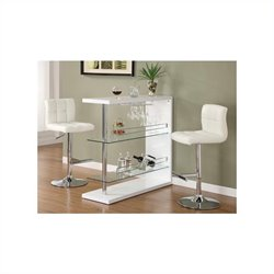 Coaster Contemporary Bar Set with 2 Stools in White