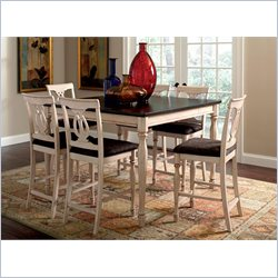 Coaster Camille 7 Piece Dining Set in Antique White and Merlot