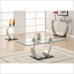 Coaster 3 Piece Glass Top Coffee Table Set in Satin Metal