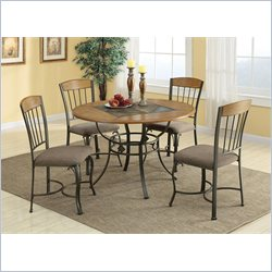 Coaster 5 Piece Metal and Wood Dining Table Set in Medium Oak