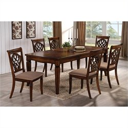 Coaster 7 Piece Rectangular Dining Table and Chair Set in Oak