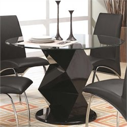 Coaster Ophelia Contemporary Glass Top Dining Table in Black