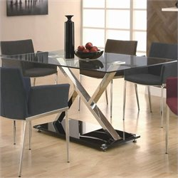 Coaster Dining XY Dining Table in Chrome