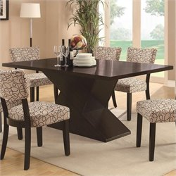 Coaster Libby Dining Table with Hourglass Base in Cappuccino