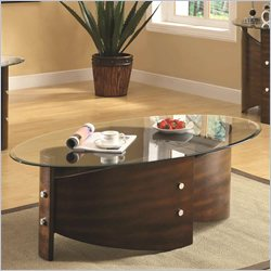 Coaster Occasional Group Oval Coffee Table in Chestnut