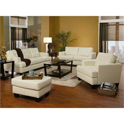 Coaster Samuel 3 Piece Leather Sofa Set in Cream