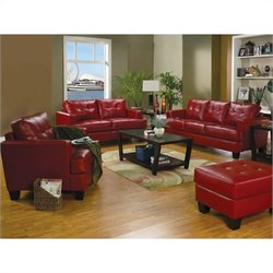 Coaster Samuel Modern 3 Piece Tufted Leather Sofa Set in Red