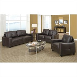 Coaster Jasmine 3 Piece Leather Sofa Set in Dark Brown