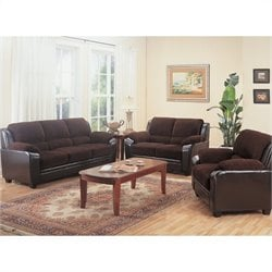 Coaster Monika 3 Piece Stationary Sofa Set in Chocolate