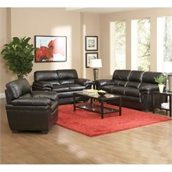 Coaster Fenmore 3 Piece Casual Leather Sofa Set in Black