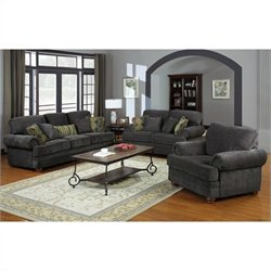 Coaster Colton 3 Piece Traditional Upholstered Sofa Set in Smokey Grey