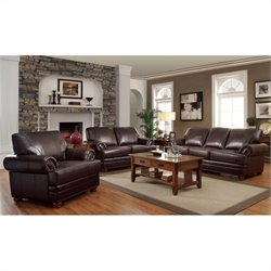 Coaster Colton 3 Piece Sofa Set in Brown