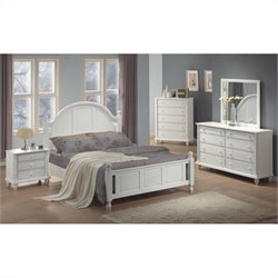 Coaster Kayla 4 Piece Bedroom Set in Distressed White