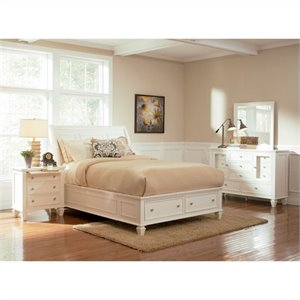 Coaster Sandy Beach 4 Piece Storage Bedroom Set in White