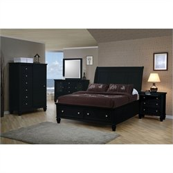 Coaster Sandy Beach 4 Piece Storage Bedroom Set in Black