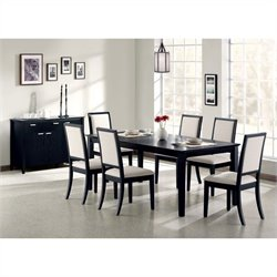Coaster Lexton 7 Piece Rectangular Dining Set in Black