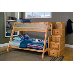 Coaster Wrangle Hill Twin over Full Bunk Bed with Stairs in Amber Wash