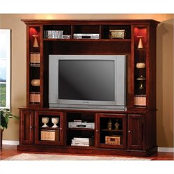 Coaster Entertainment Center in Merlot Oak