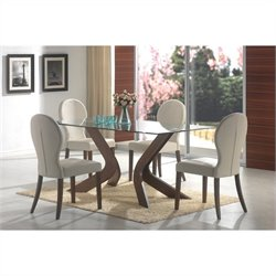 Coaster San Vicente Glass Top Rectangular Dining Table in Walnut