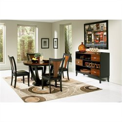 Coaster Boyer 5 Piece Round Dining Set in Black and Cherry