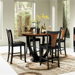 Coaster Boyer Round Counter Height Dining Table in Black and Cherry