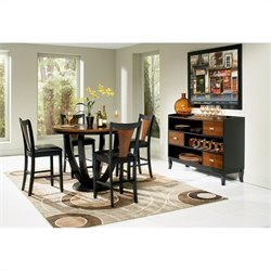Coaster Boyer 5 Piece Round Counter Height Dining Set in Black and Cherry