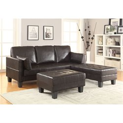 Coaster Ellesmere Faux Leather Convertible Sofa Bed with Ottomans