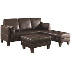 Coaster Ellesmere Faux Leather Convertible Sofa Bed with 2 Ottomans in Dark Brown