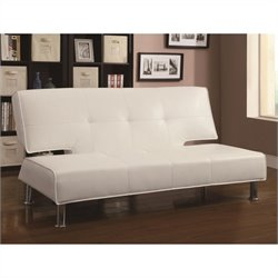 Coaster Silky Faux Leather Convertible Armless Sofa Bed in White