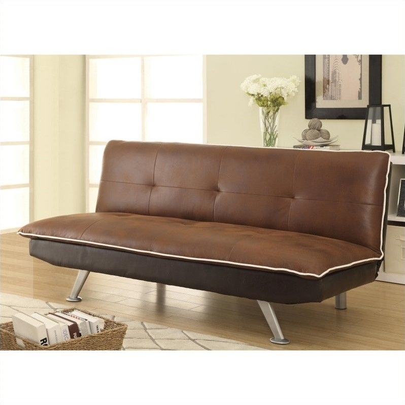 Coaster microfiber convertible armless sofa bed in for Chocolate brown microfiber sectional sofa