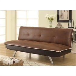 Coaster Microfiber Convertible Armless Sofa Bed in Chocolate Brown