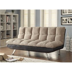 Coaster Leather Convertible Sofa in Beige