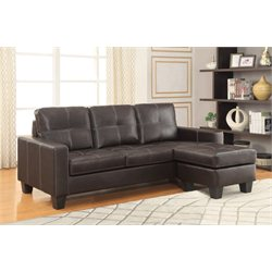 Coaster Leather Sectional in Dark Brown