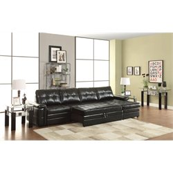 Coaster Leather Sectional in Black