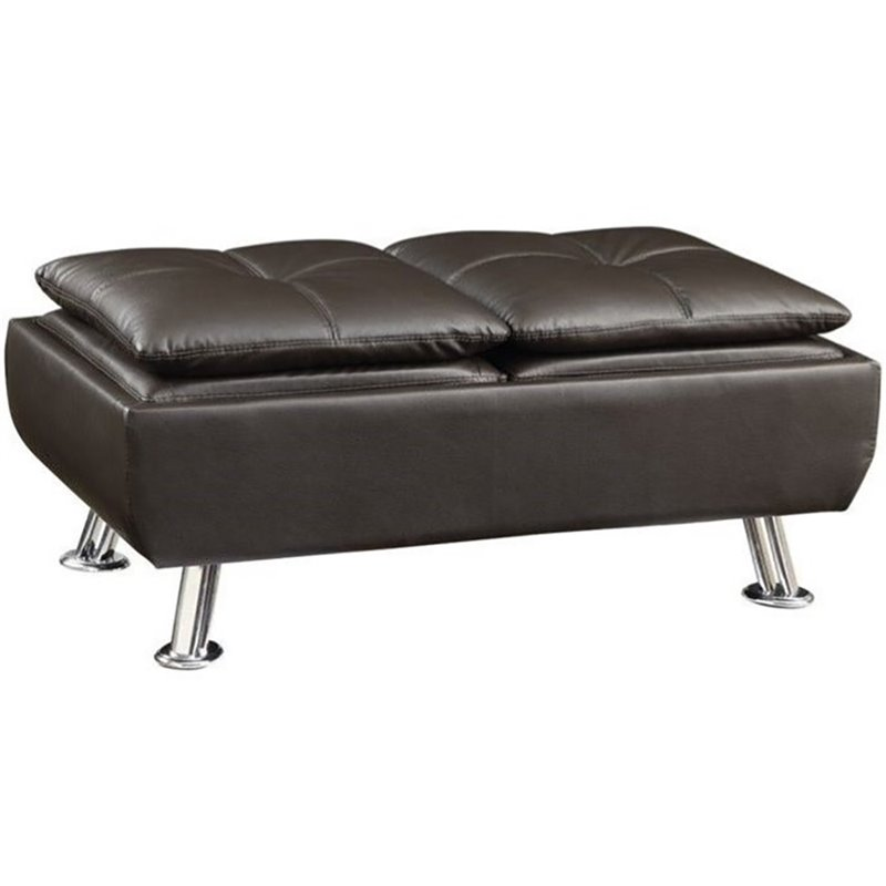 Coaster Dilleston Faux Leather Tufted Storage Ottoman in Brown