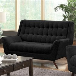 Coaster Natalia Tufted Fabric Loveseat in Black