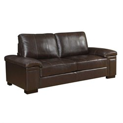 Coaster Winfred Leather Sofa in Dark Brown