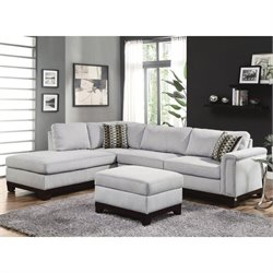 Coaster Mason 2 Piece Velvet Sectional Set in Blue Grey