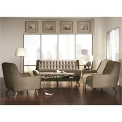 Coaster Natalia 3 Piece Tufted Fabric Sofa Set in Grey