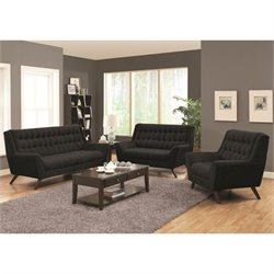 Coaster Natalia 3 Piece Tufted Fabric Sofa Set in Black