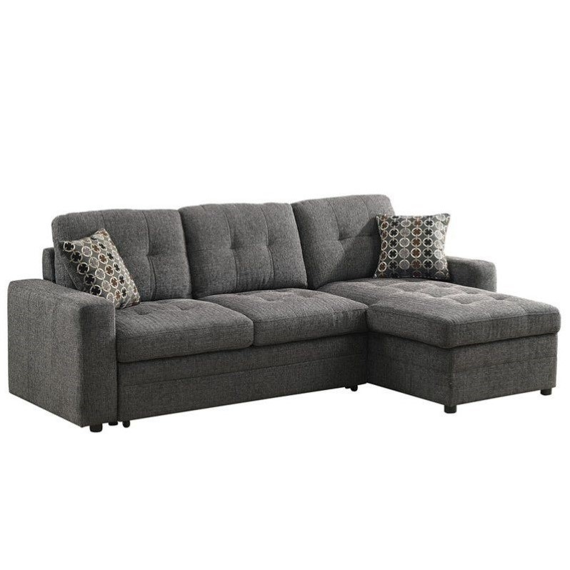 Coaster chenille sleeper sofa with storage in charcoal and Sleeper sofa sectional