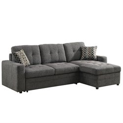 Coaster Chenille Sleeper Sofa with Storage in Charcoal and Black