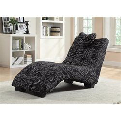 Coaster Fabric Chaise Lounge in Black with White French Script