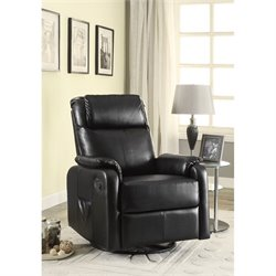 Coaster Faux Leather Swivel Glider Recliner with Side Pocket in Black