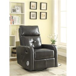 Coaster Leather Swivel Glider Recliner with Bluetooth Speaker in Gray